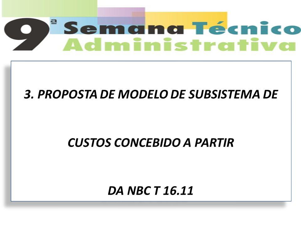 3. PROPOSTA DE MODELO DE SUBSISTEMA DE CUSTOS CONCEBIDO A PARTIR DA NBC T 16.11 3. PROPOSTA DE MODELO DE SUBSISTEMA DE CUSTOS CONCEBIDO A PARTIR DA NB