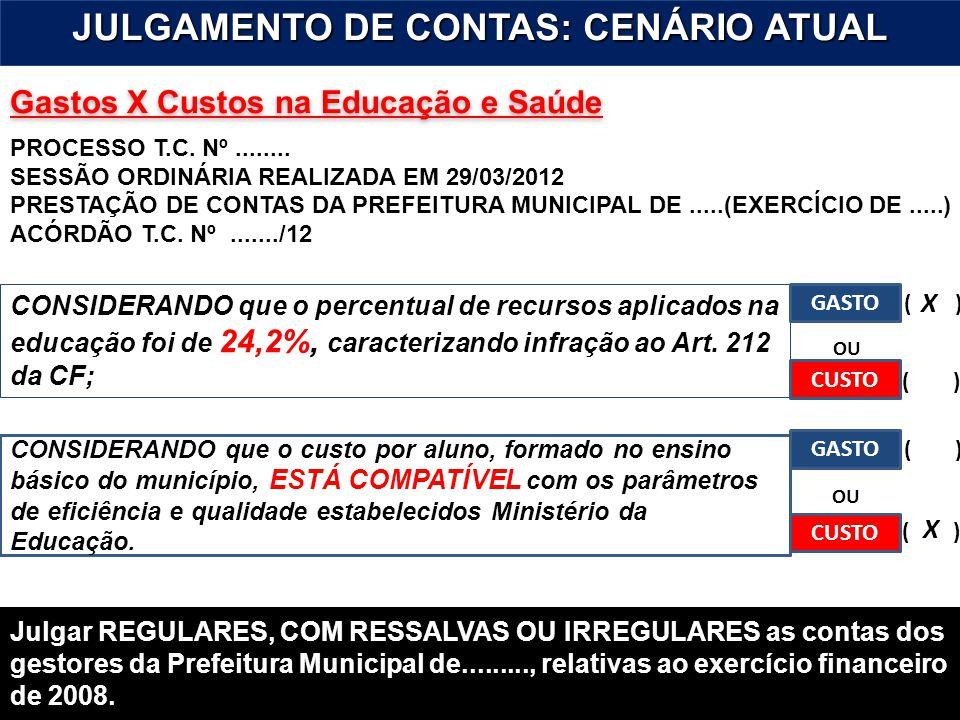9 Gastos X Custos na Educação e Saúde JULGAMENTO DE CONTAS: CENÁRIO ATUAL PROCESSO T.C. Nº........ SESSÃO ORDINÁRIA REALIZADA EM 29/03/2012 PRESTAÇÃO