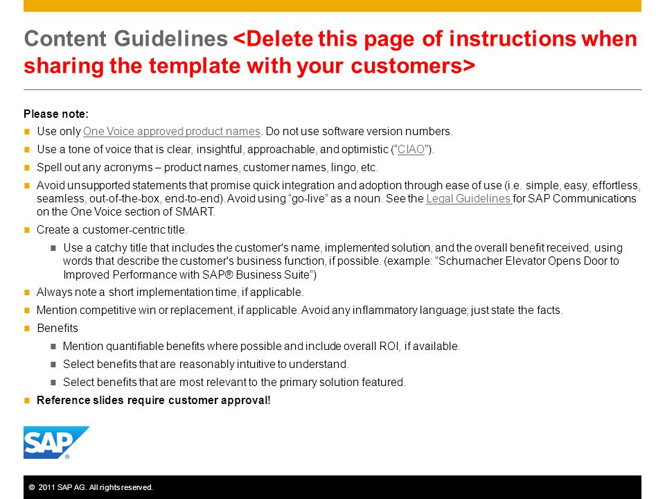 ©2011 SAP AG.All rights reserved. Process 1. Fill in the template on slide 5.