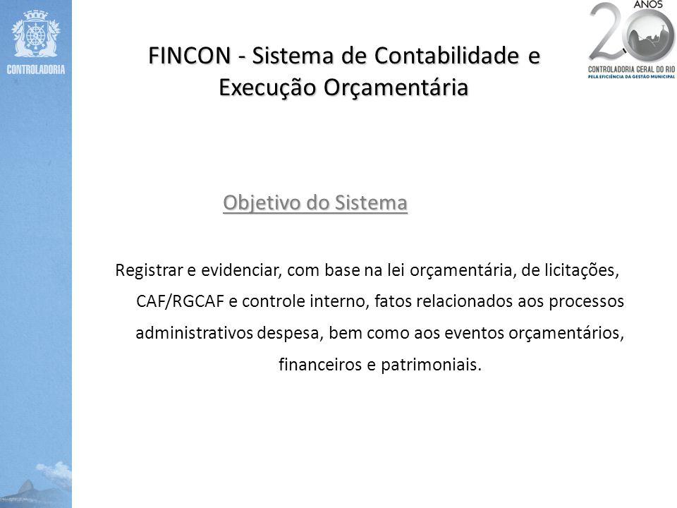 Objetivo do Sistema Registrar e evidenciar, com base na lei orçamentária, de licitações, CAF/RGCAF e controle interno, fatos relacionados aos processo