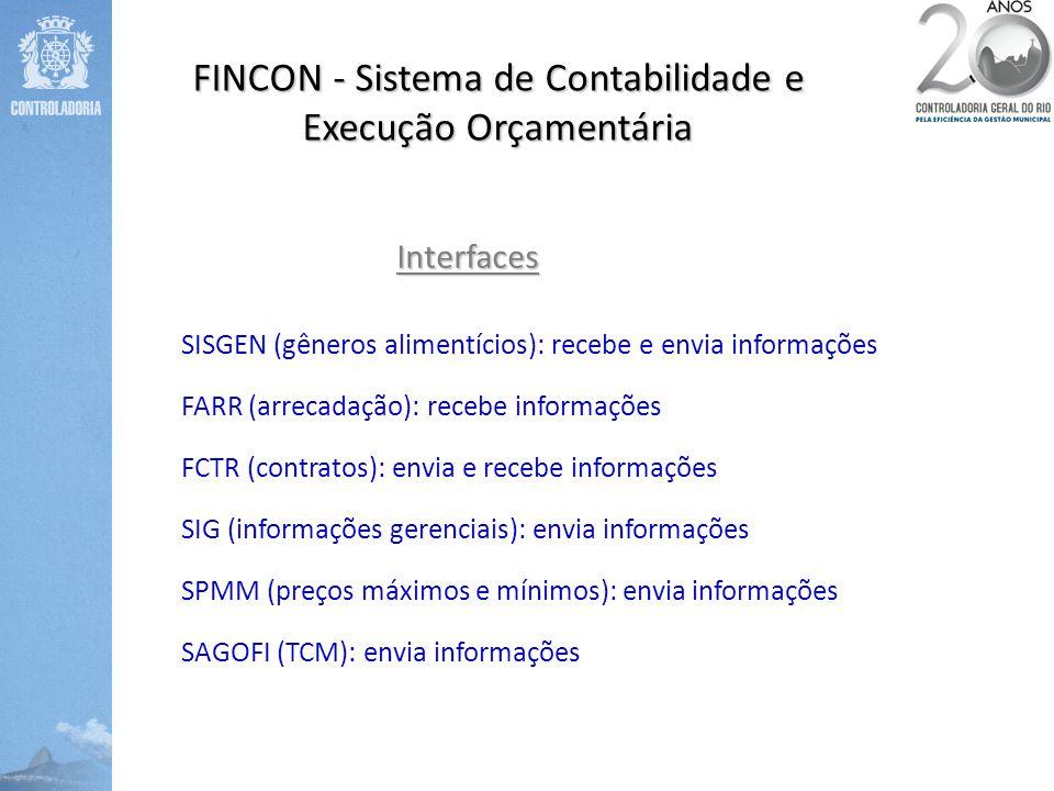 FINCON - Sistema de Contabilidade e Execução Orçamentária Interfaces SISGEN (gêneros alimentícios): recebe e envia informações FARR (arrecadação): rec