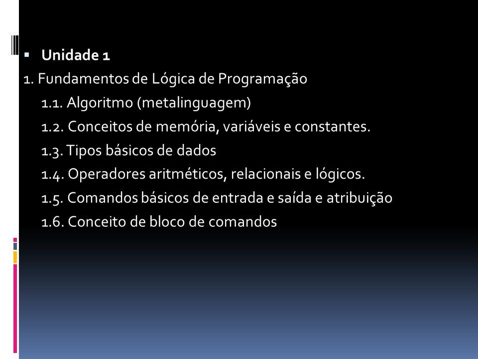  Unidade 1 1. Fundamentos de Lógica de Programação 1.1.