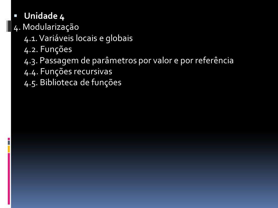  Unidade 4 4. Modularização 4.1. Variáveis locais e globais 4.2.