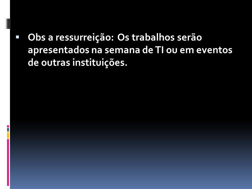  Obs a ressurreição: Os trabalhos serão apresentados na semana de TI ou em eventos de outras instituições.