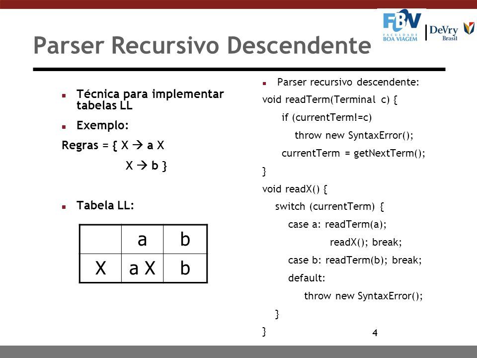 4 Parser Recursivo Descendente n Técnica para implementar tabelas LL n Exemplo: Regras = { X  a X X  b } n Tabela LL: n Parser recursivo descendente: void readTerm(Terminal c) { if (currentTerm!=c) throw new SyntaxError(); currentTerm = getNextTerm(); } void readX() { switch (currentTerm) { case a: readTerm(a); readX(); break; case b: readTerm(b); break; default: throw new SyntaxError(); } ab Xa Xb