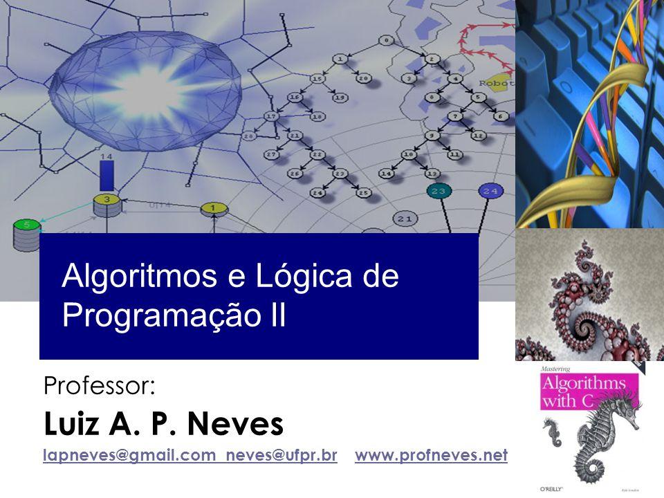 Professor: Luiz A. P. Neves lapneves@gmail.com neves@ufpr.brlapneves@gmail.com neves@ufpr.br www.profneves.netwww.profneves.net Algoritmos e Lógica de