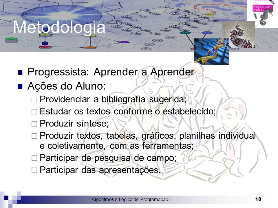 Algoritmos e Lógica de Programação II 10 Metodologia Progressista: Aprender a Aprender Ações do Aluno:  Providenciar a bibliografia sugerida;  Estud