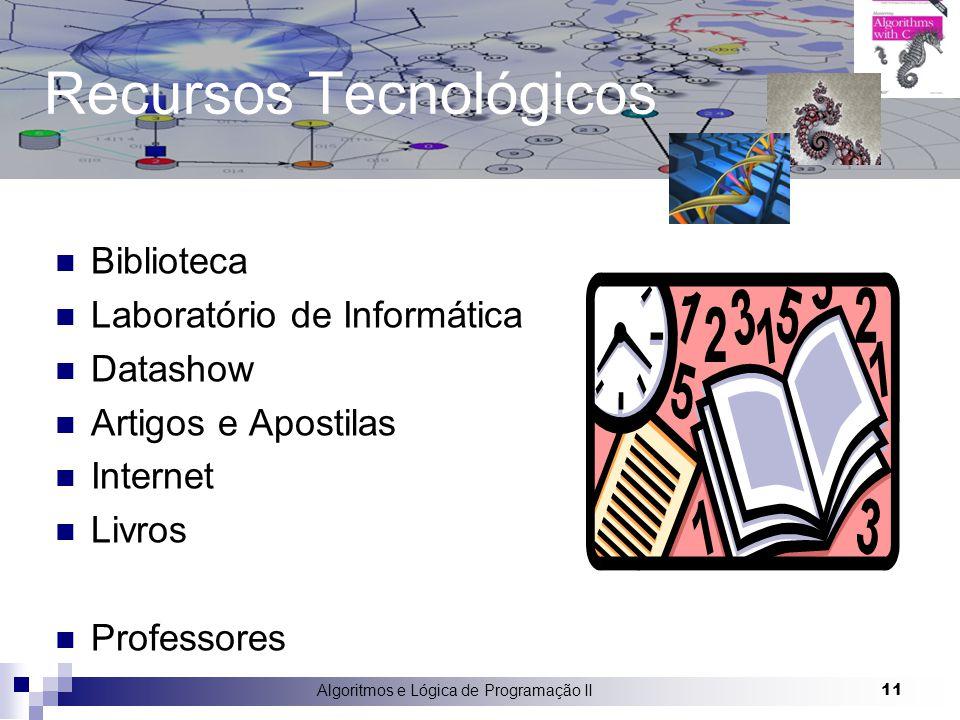 Algoritmos e Lógica de Programação II 11 Recursos Tecnológicos Biblioteca Laboratório de Informática Datashow Artigos e Apostilas Internet Livros Prof