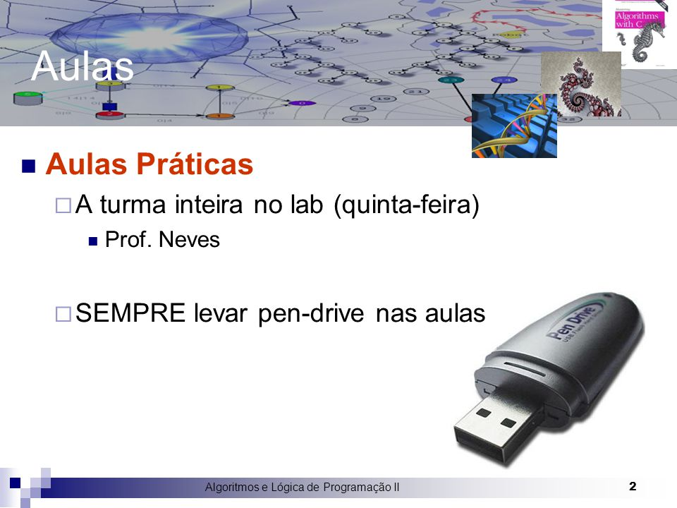 2 Aulas Aulas Práticas  A turma inteira no lab (quinta-feira) Prof. Neves  SEMPRE levar pen-drive nas aulas
