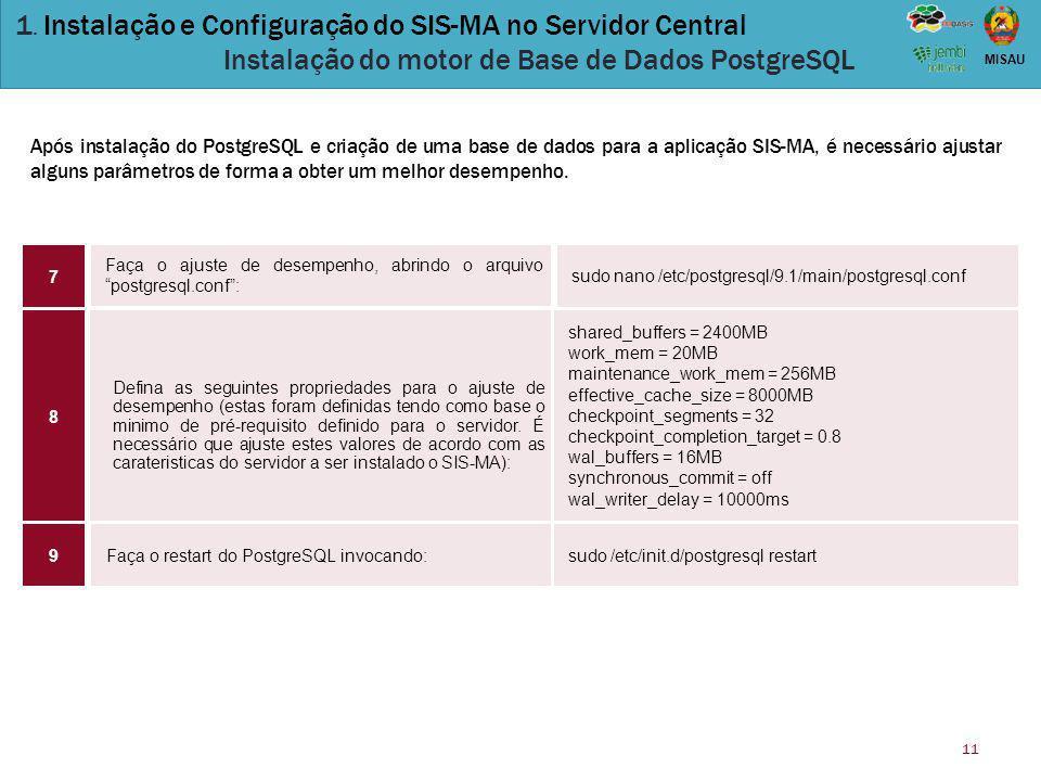 """11 MISAU Faça o ajuste de desempenho, abrindo o arquivo """"postgresql.conf"""": sudo nano /etc/postgresql/9.1/main/postgresql.conf Defina as seguintes prop"""
