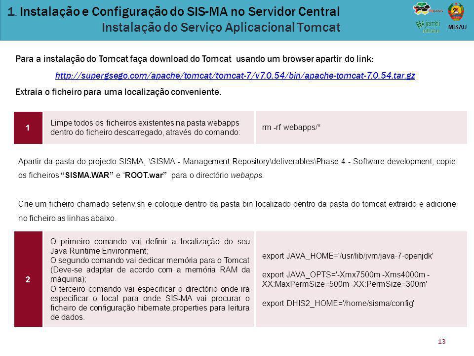 13 MISAU 1. Instalação e Configuração do SIS-MA no Servidor Central Instalação do Serviço Aplicacional Tomcat Limpe todos os ficheiros existentes na p