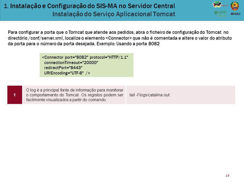14 MISAU 1. Instalação e Configuração do SIS-MA no Servidor Central Instalação do Serviço Aplicacional Tomcat O log é a principal fonte de informação