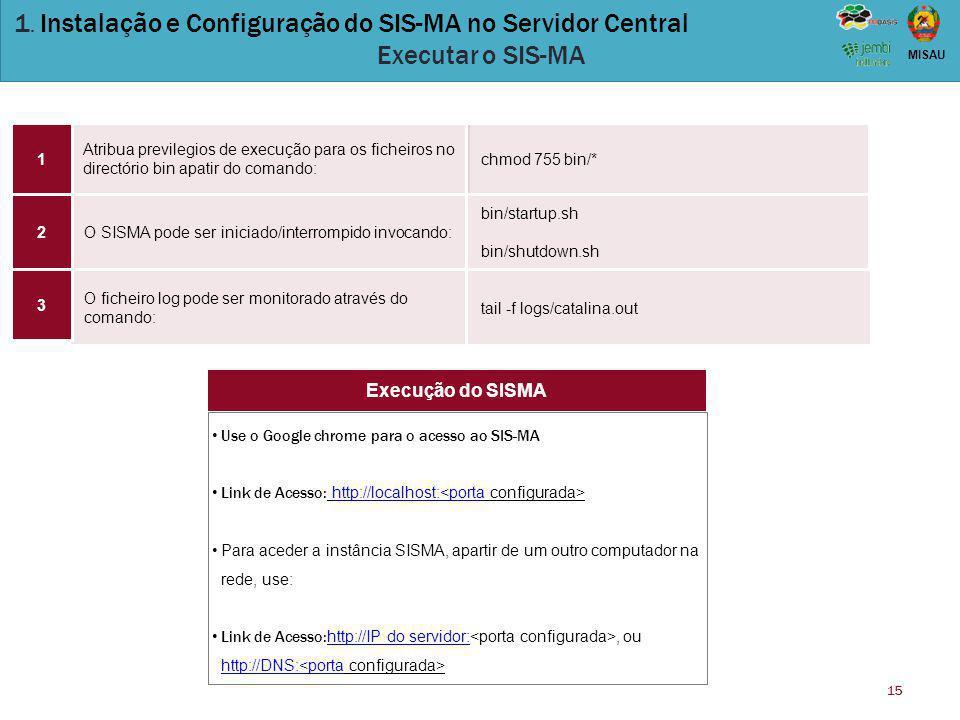 15 MISAU 1. Instalação e Configuração do SIS-MA no Servidor Central Executar o SIS-MA Atribua previlegios de execução para os ficheiros no directório