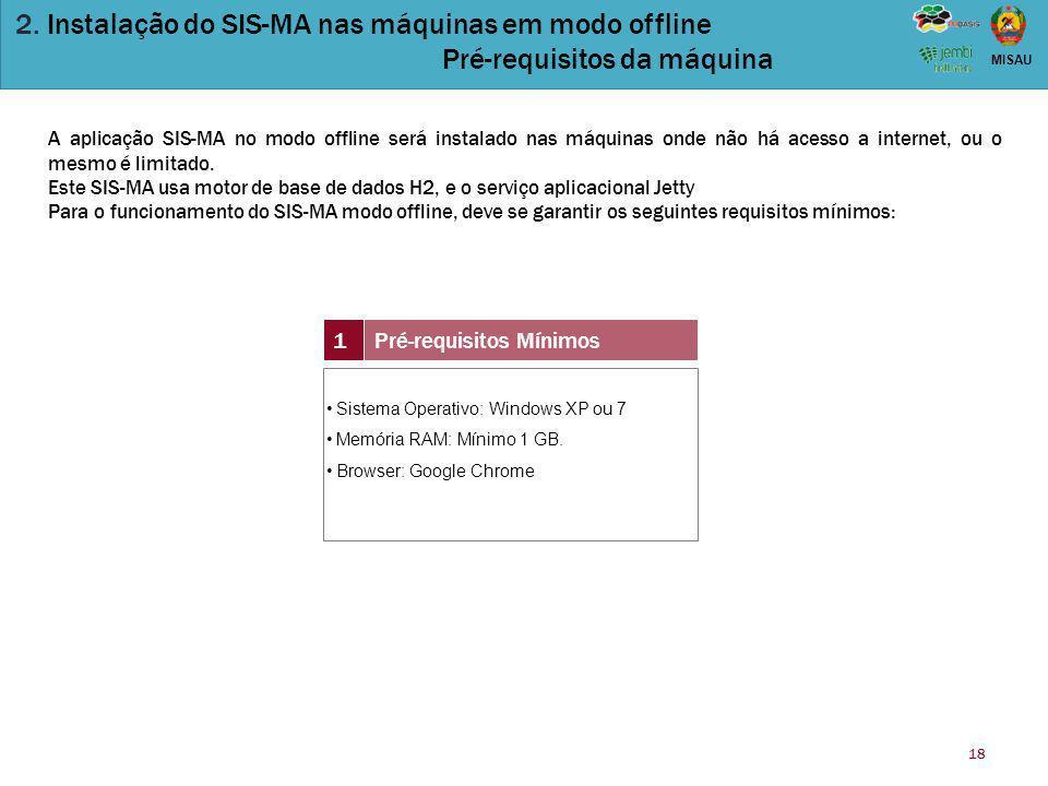 18 MISAU 2. Instalação do SIS-MA nas máquinas em modo offline Pré-requisitos da máquina 1Pré-requisitos Mínimos Sistema Operativo: Windows XP ou 7 Mem