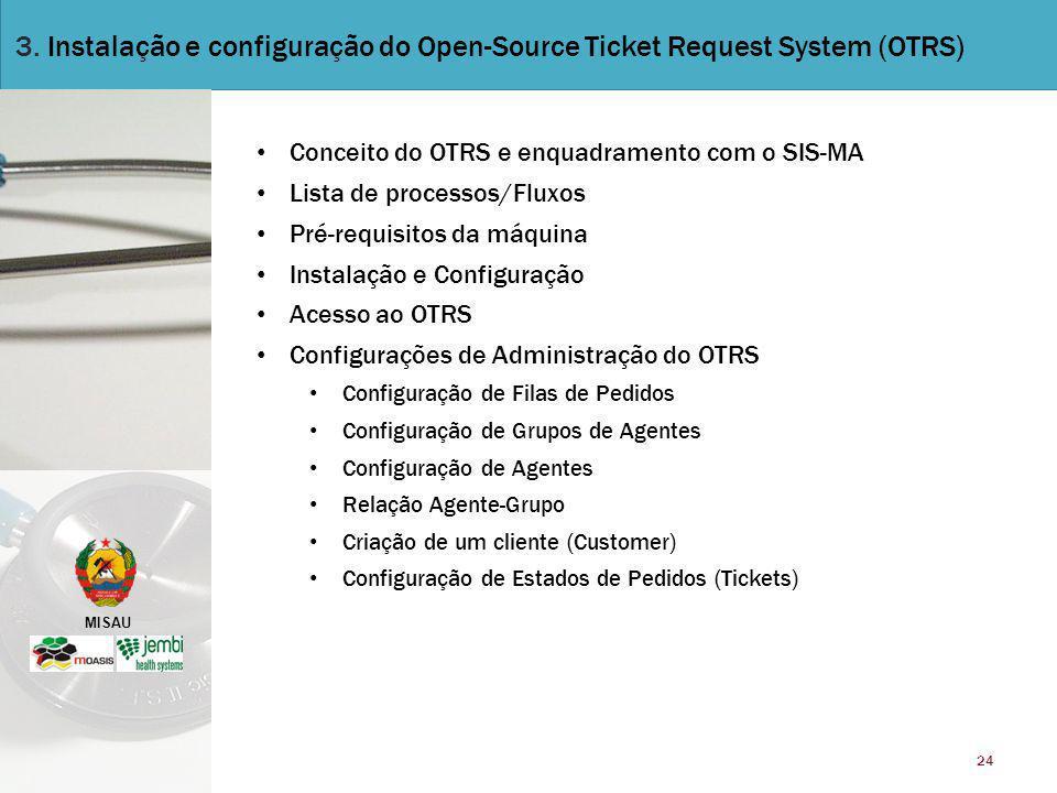 MISAU 24 3. Instalação e configuração do Open-Source Ticket Request System (OTRS) Conceito do OTRS e enquadramento com o SIS-MA Lista de processos/Flu