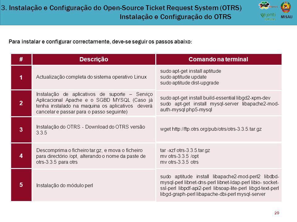 29 MISAU Actualização completa do sistema operativo Linux Instalação de aplicativos de suporte – Serviço Aplicacional Apache e o SGBD MYSQL (Caso já t