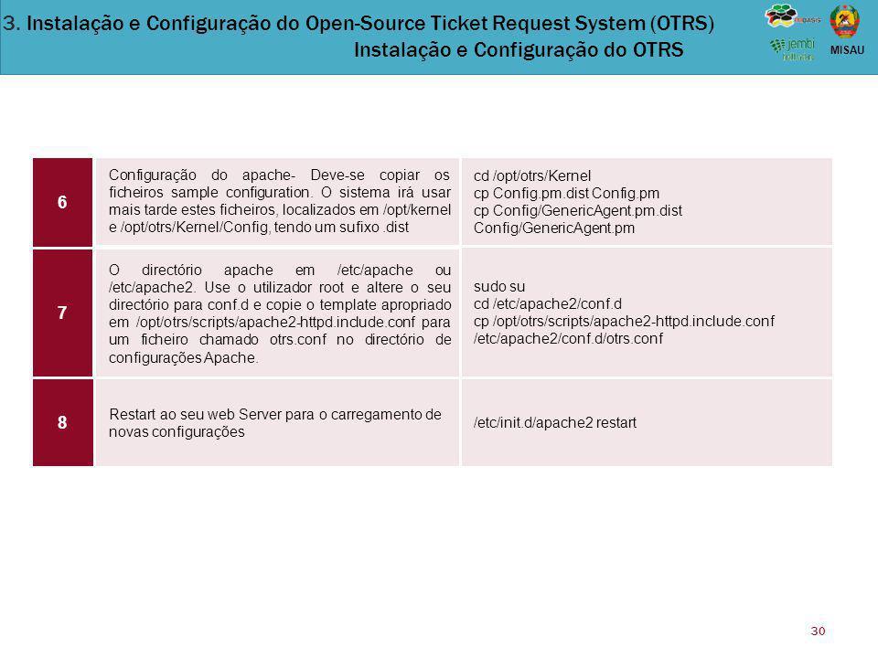 30 MISAU Configuração do apache- Deve-se copiar os ficheiros sample configuration. O sistema irá usar mais tarde estes ficheiros, localizados em /opt/