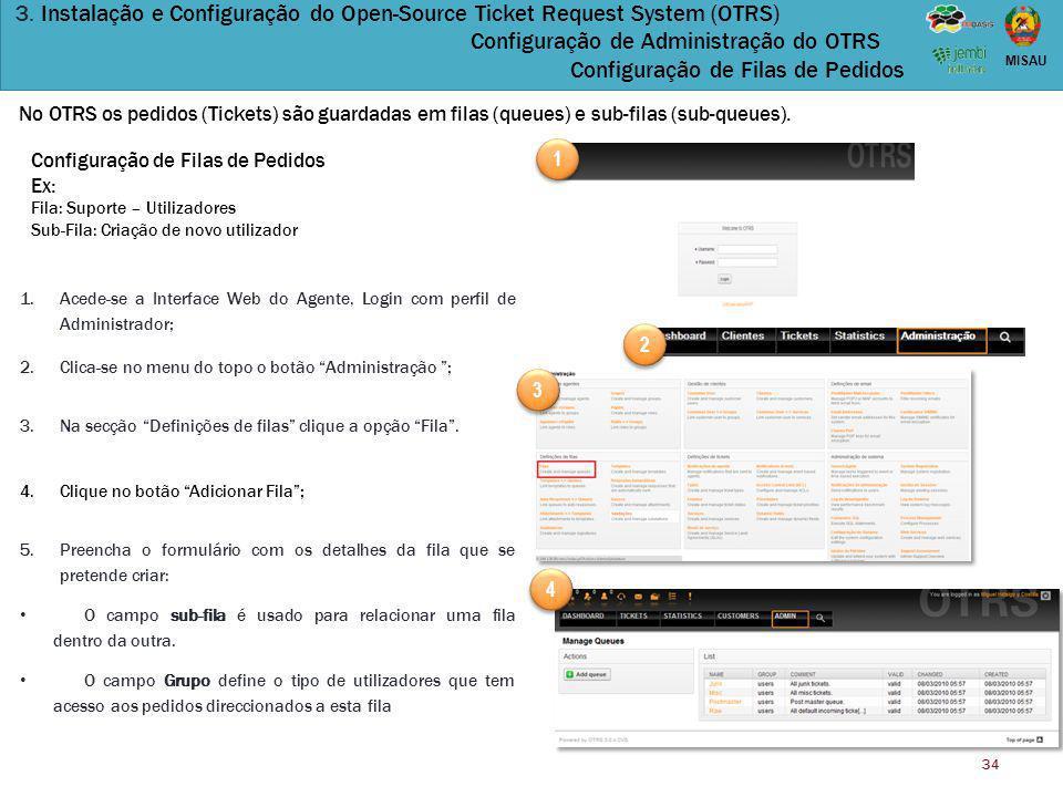 34 MISAU 3. Instalação e Configuração do Open-Source Ticket Request System (OTRS) Configuração de Administração do OTRS Configuração de Filas de Pedid