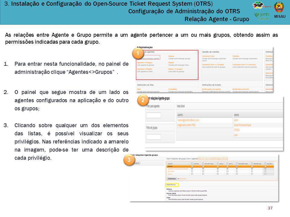 37 MISAU 3. Instalação e Configuração do Open-Source Ticket Request System (OTRS) Configuração de Administração do OTRS Relação Agente - Grupo As rela