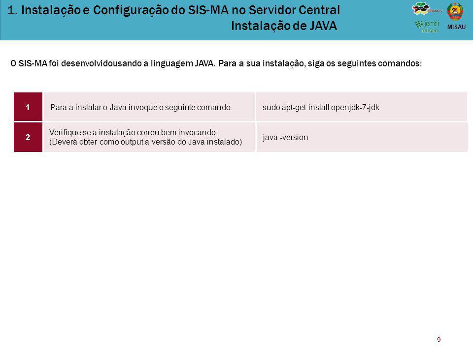9 MISAU 1. Instalação e Configuração do SIS-MA no Servidor Central Instalação de JAVA Para a instalar o Java invoque o seguinte comando:sudo apt-get i