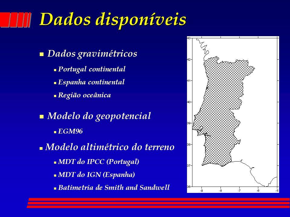 Dados disponíveis n Dados gravimétricos n Portugal continental n Espanha continental n Região oceânica n Modelo do geopotencial n EGM96 n Modelo altim