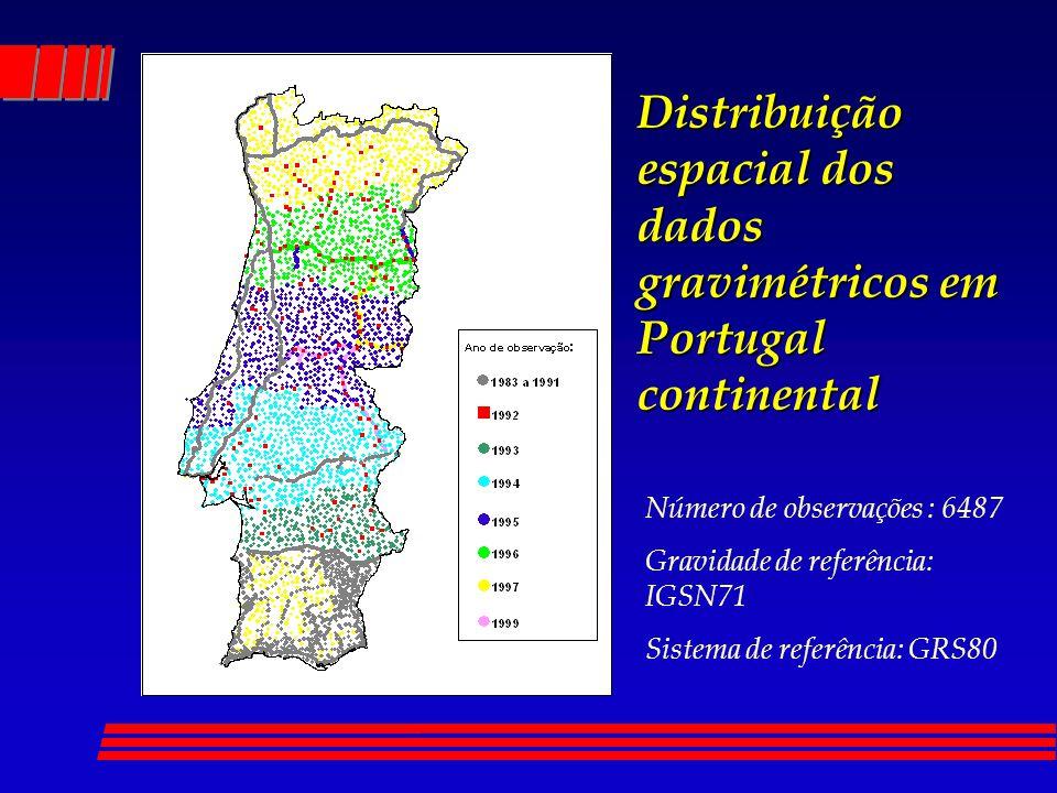 Distribuição espacial dos dados gravimétricos em Portugal continental Número de observações : 6487 Gravidade de referência: IGSN71 Sistema de referênc