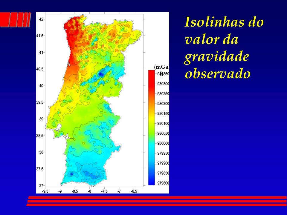 Isolinhas do valor da gravidade observado (mGa l)