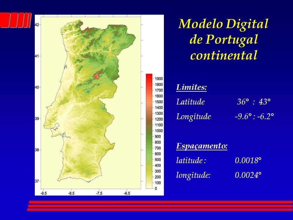 Modelo Digital de Portugal continental Limites: Latitude 36° : 43° Longitude -9.6° : -6.2° Espaçamento: latitude : 0.0018° longitude: 0.0024°