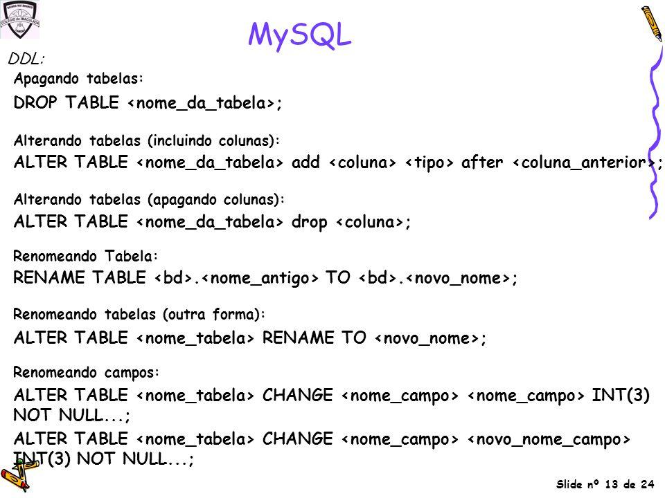 Slide nº 13 de 24 MySQL Apagando tabelas: DROP TABLE ; Alterando tabelas (incluindo colunas): ALTER TABLE add after ; Alterando tabelas (apagando colu