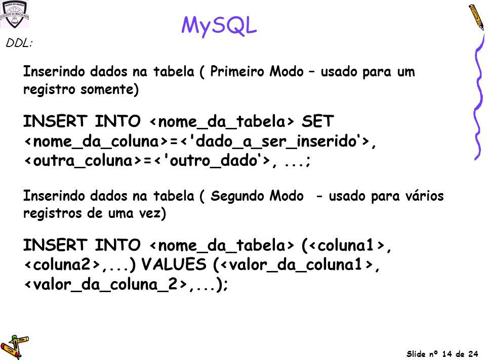 Slide nº 14 de 24 MySQL Inserindo dados na tabela ( Primeiro Modo – usado para um registro somente) INSERT INTO SET =, =,...; Inserindo dados na tabel