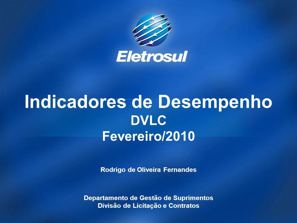Indicadores de Desempenho DVLC Fevereiro/2010 Rodrigo de Oliveira Fernandes Departamento de Gestão de Suprimentos Divisão de Licitação e Contratos