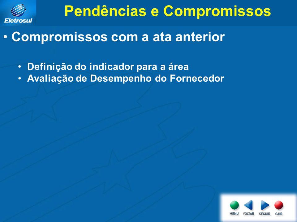 Pendências e Compromissos Compromissos com a ata anterior Definição do indicador para a área Avaliação de Desempenho do Fornecedor