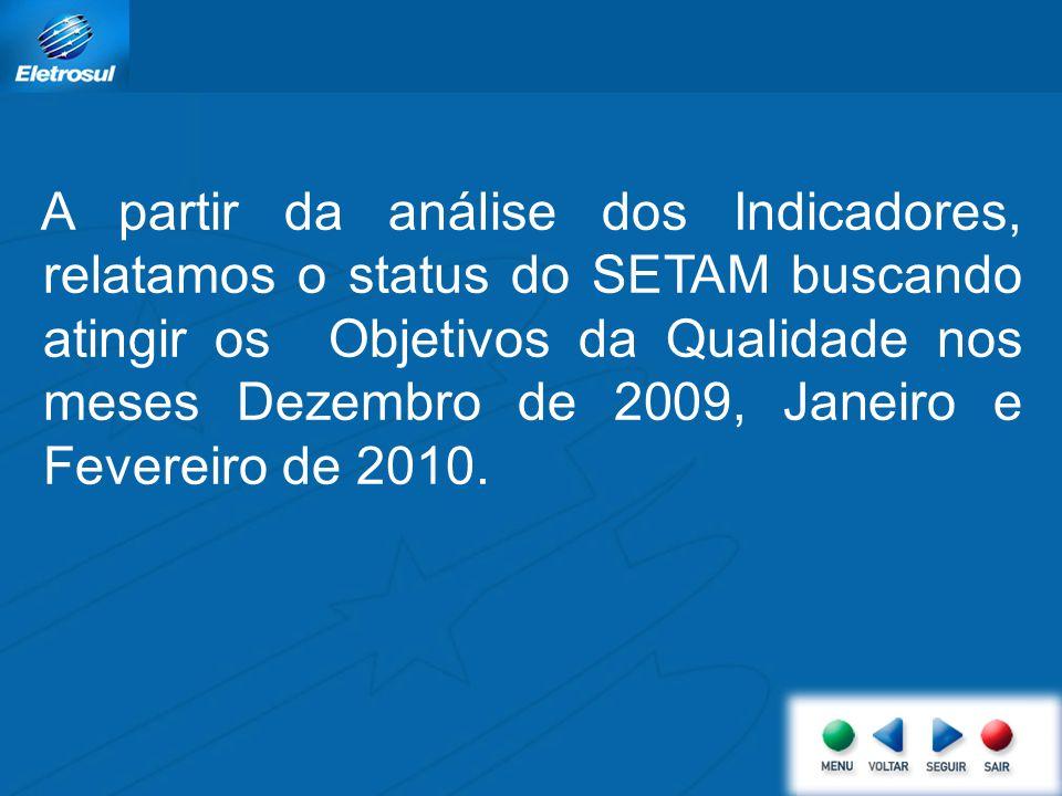 A partir da análise dos Indicadores, relatamos o status do SETAM buscando atingir os Objetivos da Qualidade nos meses Dezembro de 2009, Janeiro e Feve