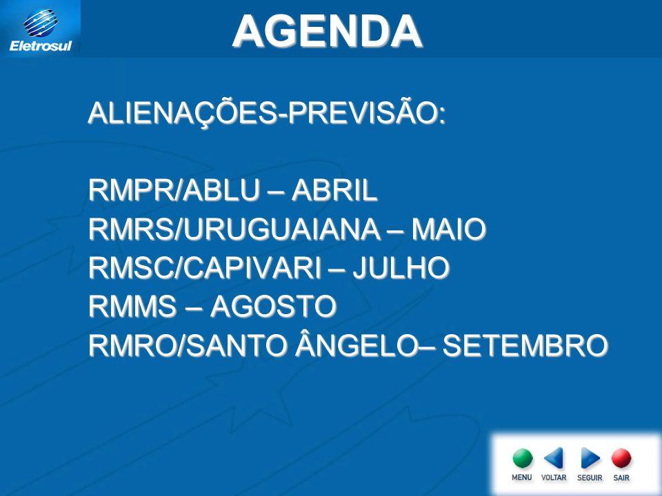 AGENDAALIENAÇÕES-PREVISÃO: RMPR/ABLU – ABRIL RMRS/URUGUAIANA – MAIO RMSC/CAPIVARI – JULHO RMMS – AGOSTO RMRO/SANTO ÂNGELO– SETEMBRO