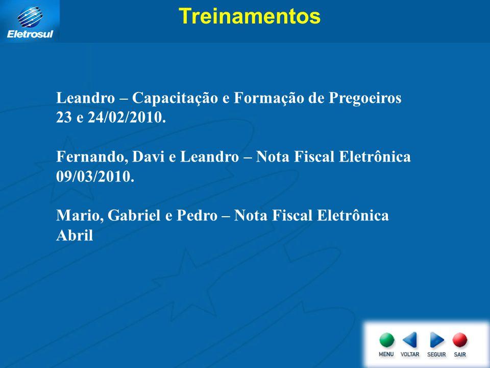 Treinamentos Leandro – Capacitação e Formação de Pregoeiros 23 e 24/02/2010. Fernando, Davi e Leandro – Nota Fiscal Eletrônica 09/03/2010. Mario, Gabr