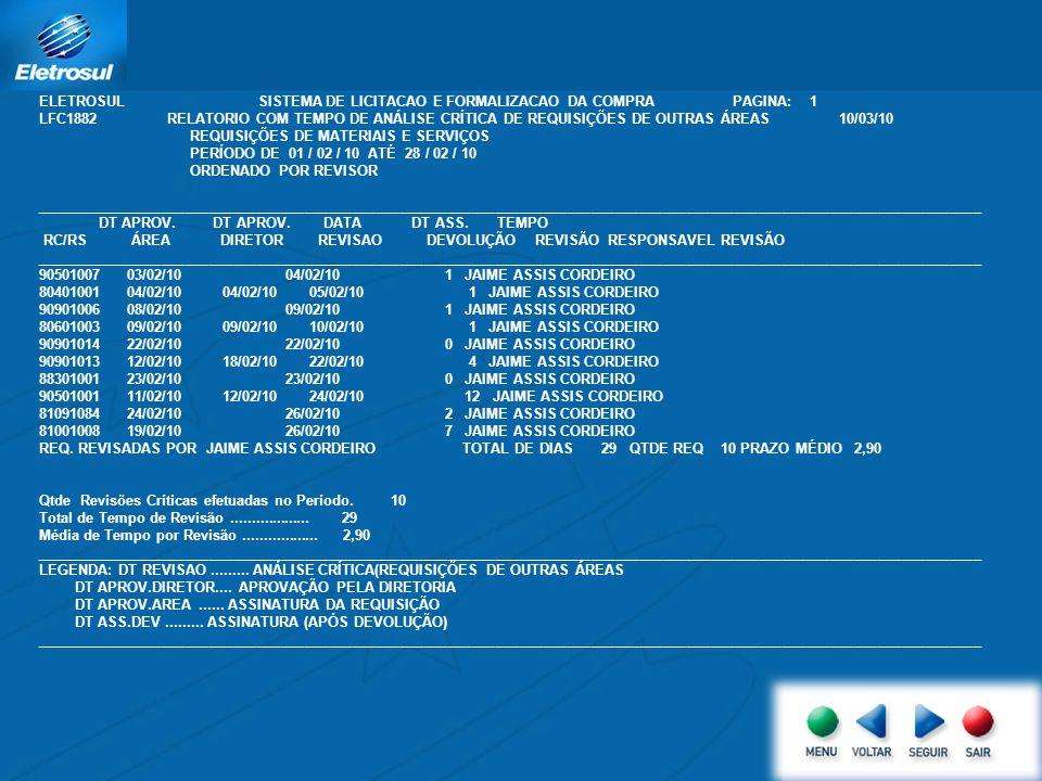 ELETROSUL SISTEMA DE LICITACAO E FORMALIZACAO DA COMPRA PAGINA: 1 LFC1882 RELATORIO COM TEMPO DE ANÁLISE CRÍTICA DE REQUISIÇÕES DE OUTRAS ÁREAS 10/03/