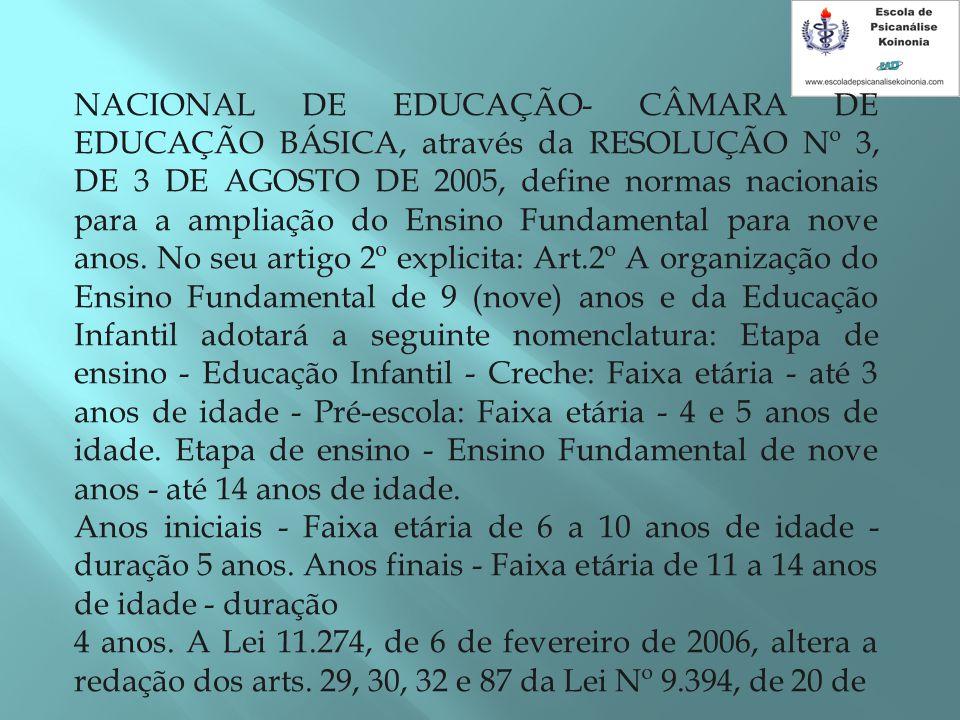 NACIONAL DE EDUCAÇÃO- CÂMARA DE EDUCAÇÃO BÁSICA, através da RESOLUÇÃO Nº 3, DE 3 DE AGOSTO DE 2005, define normas nacionais para a ampliação do Ensino