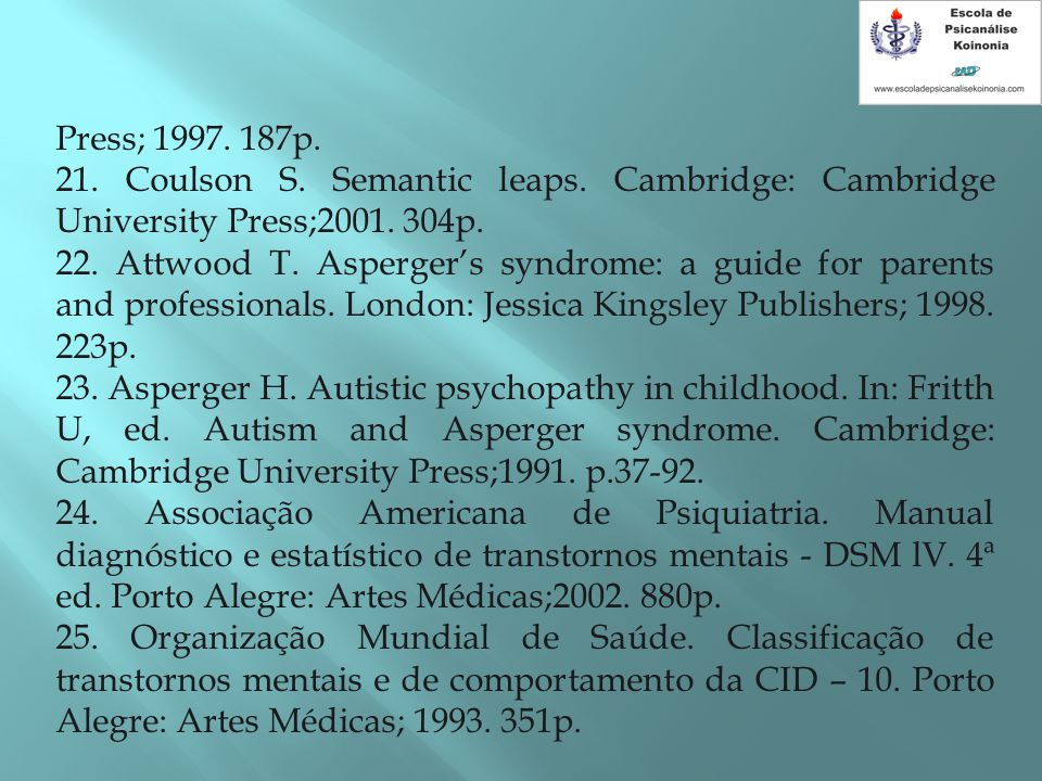 Press; 1997.187p. 21. Coulson S. Semantic leaps. Cambridge: Cambridge University Press;2001.