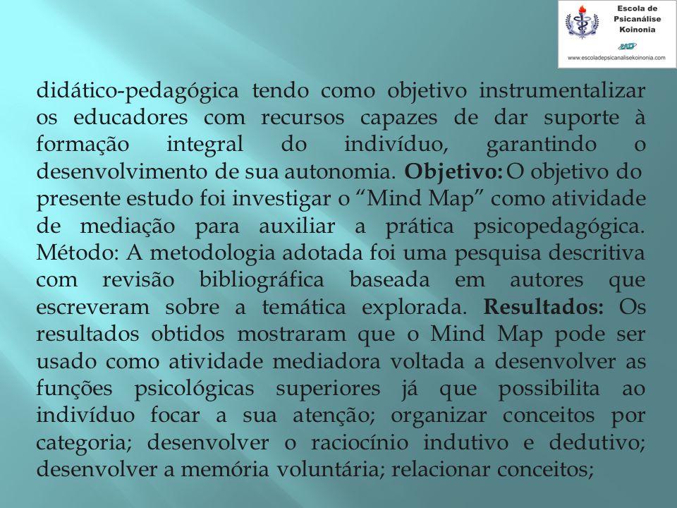 didático-pedagógica tendo como objetivo instrumentalizar os educadores com recursos capazes de dar suporte à formação integral do indivíduo, garantind