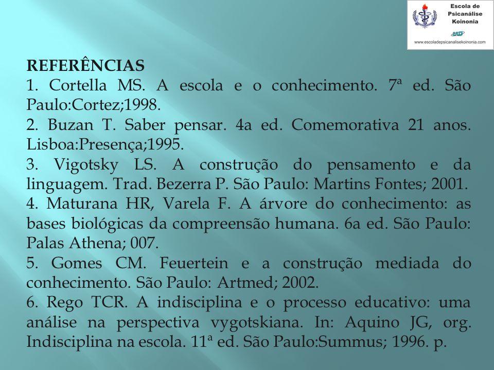 REFERÊNCIAS 1. Cortella MS. A escola e o conhecimento. 7ª ed. São Paulo:Cortez;1998. 2. Buzan T. Saber pensar. 4a ed. Comemorativa 21 anos. Lisboa:Pre