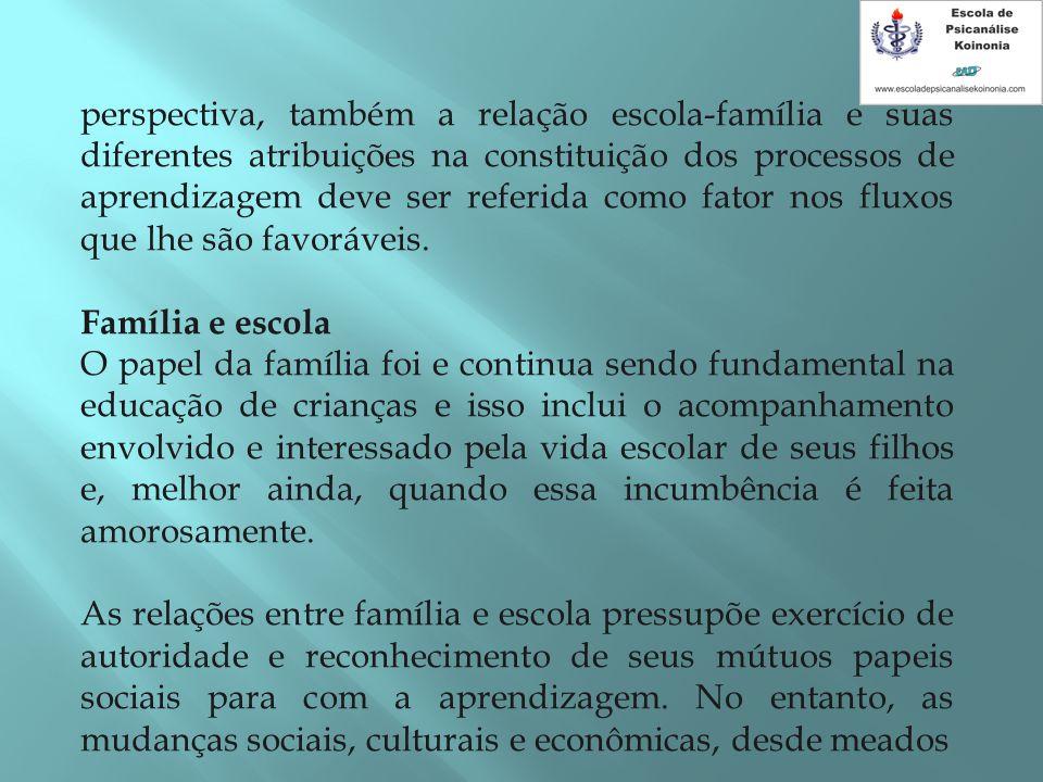 perspectiva, também a relação escola-família e suas diferentes atribuições na constituição dos processos de aprendizagem deve ser referida como fator