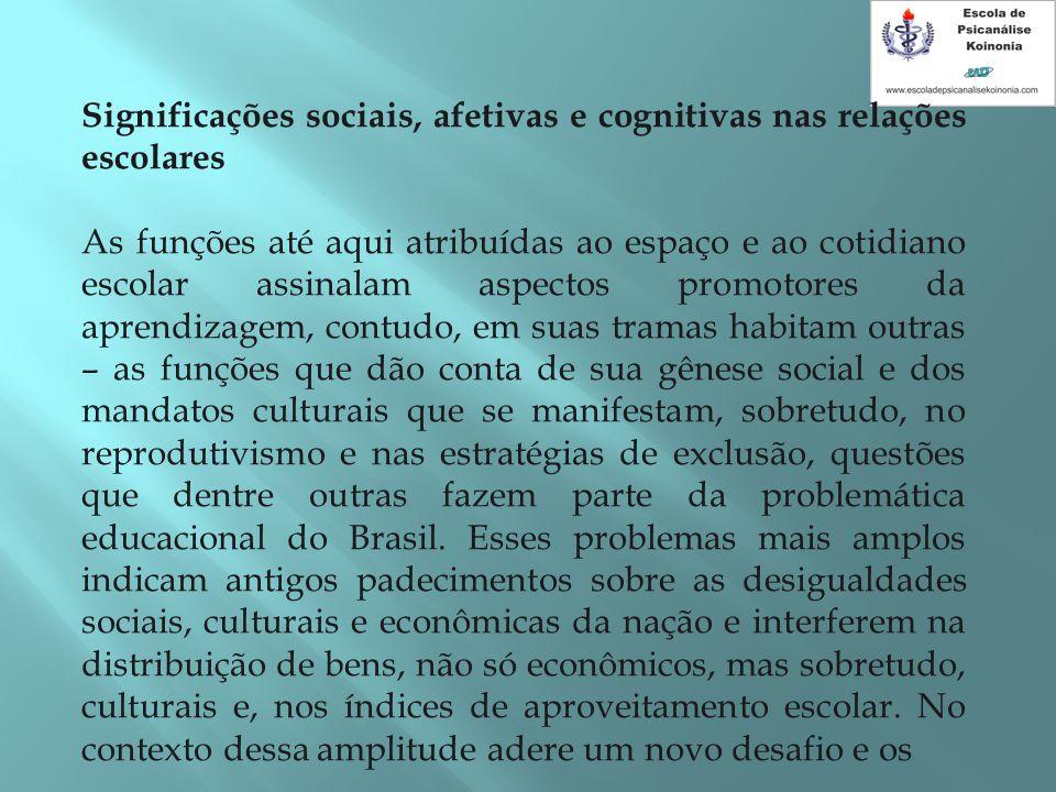 Significações sociais, afetivas e cognitivas nas relações escolares As funções até aqui atribuídas ao espaço e ao cotidiano escolar assinalam aspectos