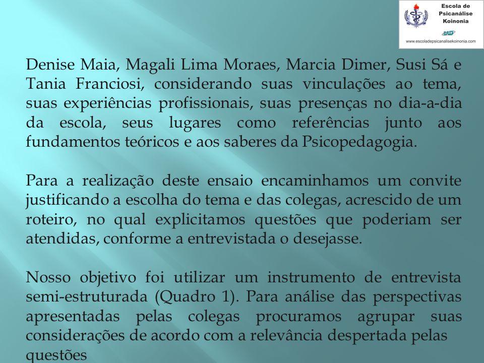Denise Maia, Magali Lima Moraes, Marcia Dimer, Susi Sá e Tania Franciosi, considerando suas vinculações ao tema, suas experiências profissionais, suas