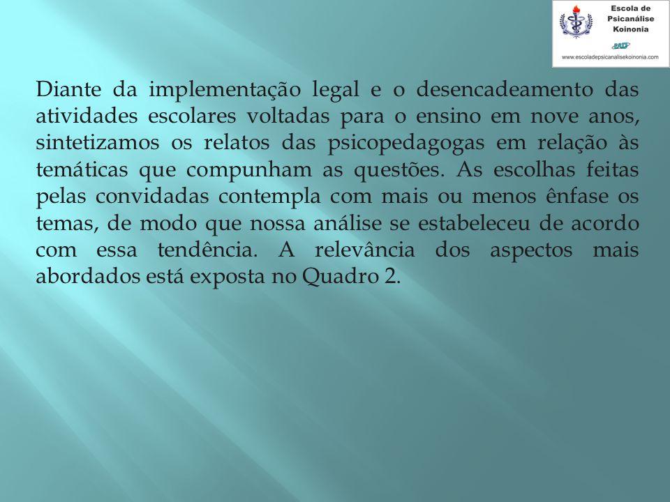 Diante da implementação legal e o desencadeamento das atividades escolares voltadas para o ensino em nove anos, sintetizamos os relatos das psicopedag