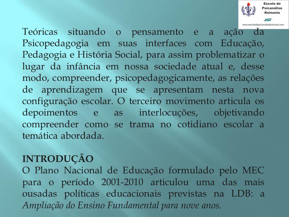 Teóricas situando o pensamento e a ação da Psicopedagogia em suas interfaces com Educação, Pedagogia e História Social, para assim problematizar o lug