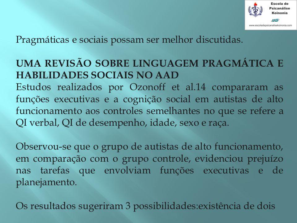 Pragmáticas e sociais possam ser melhor discutidas. UMA REVISÃO SOBRE LINGUAGEM PRAGMÁTICA E HABILIDADES SOCIAIS NO AAD Estudos realizados por Ozonoff