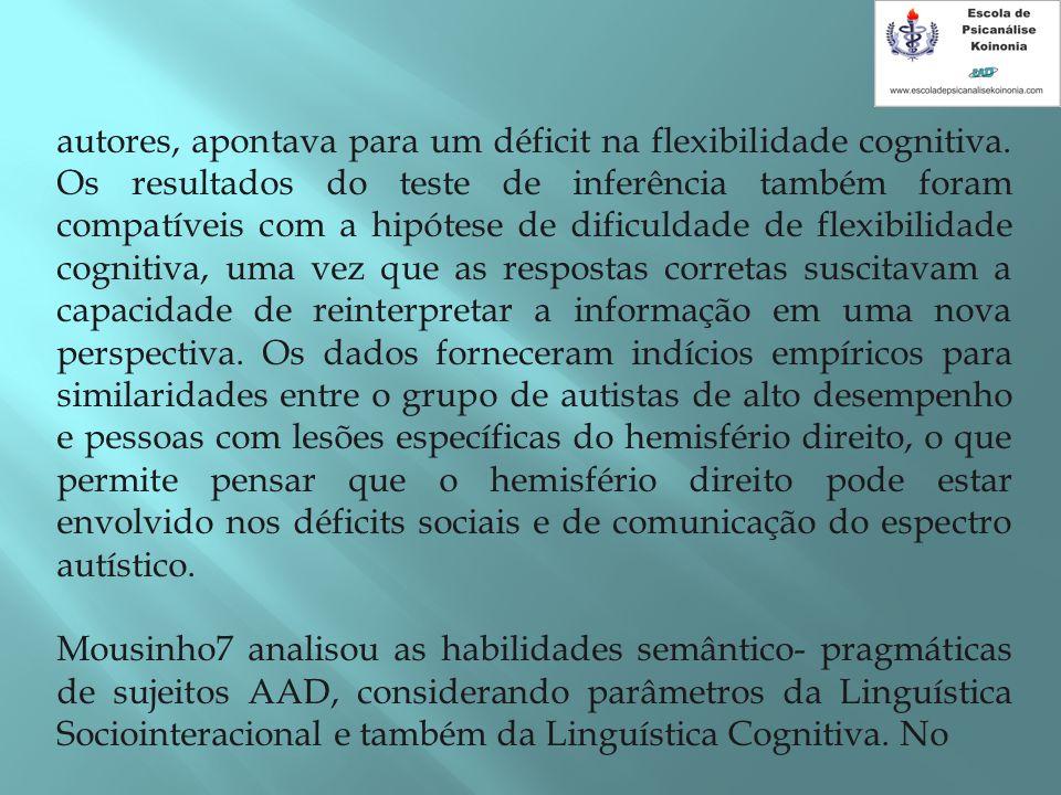 autores, apontava para um déficit na flexibilidade cognitiva. Os resultados do teste de inferência também foram compatíveis com a hipótese de dificuld