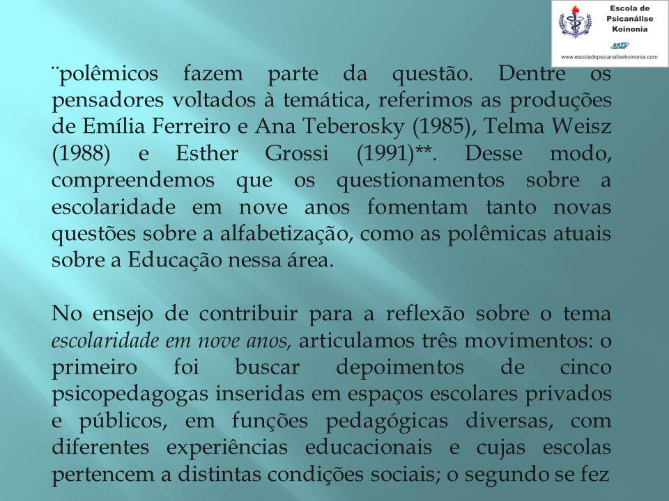¨polêmicos fazem parte da questão. Dentre os pensadores voltados à temática, referimos as produções de Emília Ferreiro e Ana Teberosky (1985), Telma W