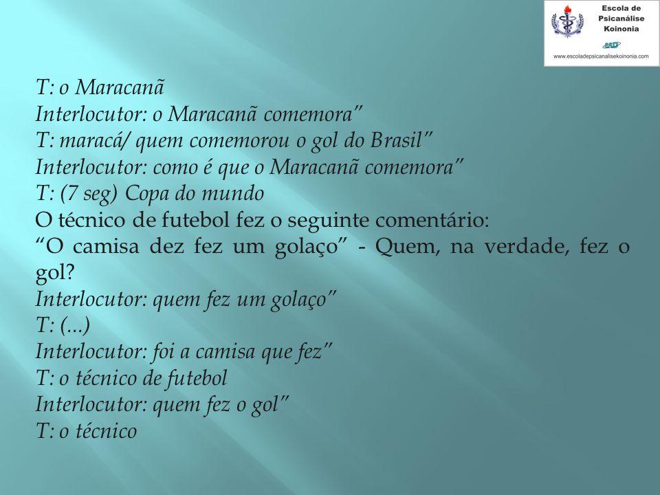"""T: o Maracanã Interlocutor: o Maracanã comemora"""" T: maracá/ quem comemorou o gol do Brasil"""" Interlocutor: como é que o Maracanã comemora"""" T: (7 seg) C"""