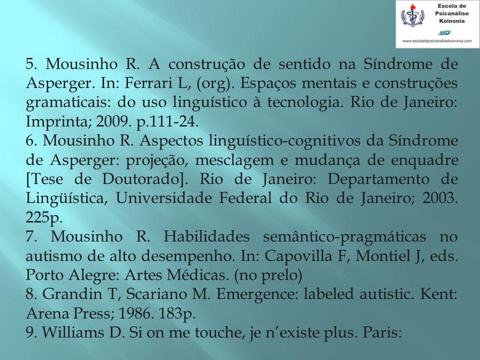 5. Mousinho R. A construção de sentido na Síndrome de Asperger. In: Ferrari L, (org). Espaços mentais e construções gramaticais: do uso linguístico à
